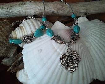 """Hand Made  Hand Made Silver and Turquoise 14"""" Beaded Necklace and Bracelet Set"""