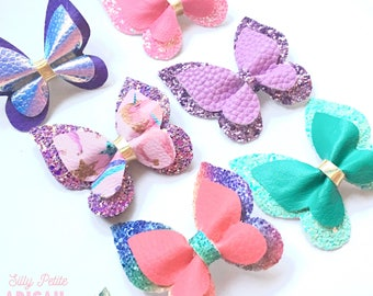 Butterfly Clips, Butterfly Bows, Hairclips single or double layer