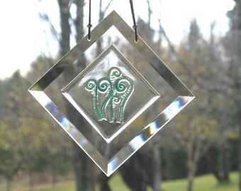 Fiddleheads, Fiddlehead Fern Suncatcher,  Engraved Fiddlehead Suncatcher,  Fused Glass Fiddlehead,  Ferns,  Fern Window Hanging, BV122