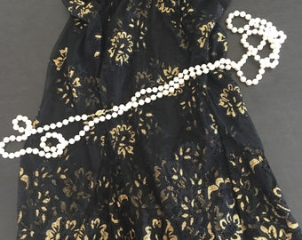 S/ Frederick's of Hollywood/ Lace Babydoll/Gold and Black/ Small