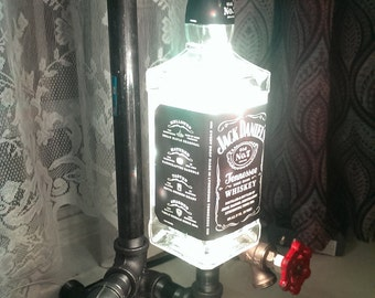 Handmade Custom Steampunk LED Pipe Lamp, Industrial Lamp, 16 Color Options  W/remote