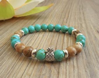 boho bead bracelet hippie boho bracelets pineapple bracelet tropical jewelry summer bracelet pineapple jewelry boho style hippie bracelet