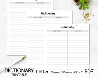 Dictionary Printable, Learn Foreign Languages, List, Letter, Digital Planner Page, Double-sided Printing, PDF