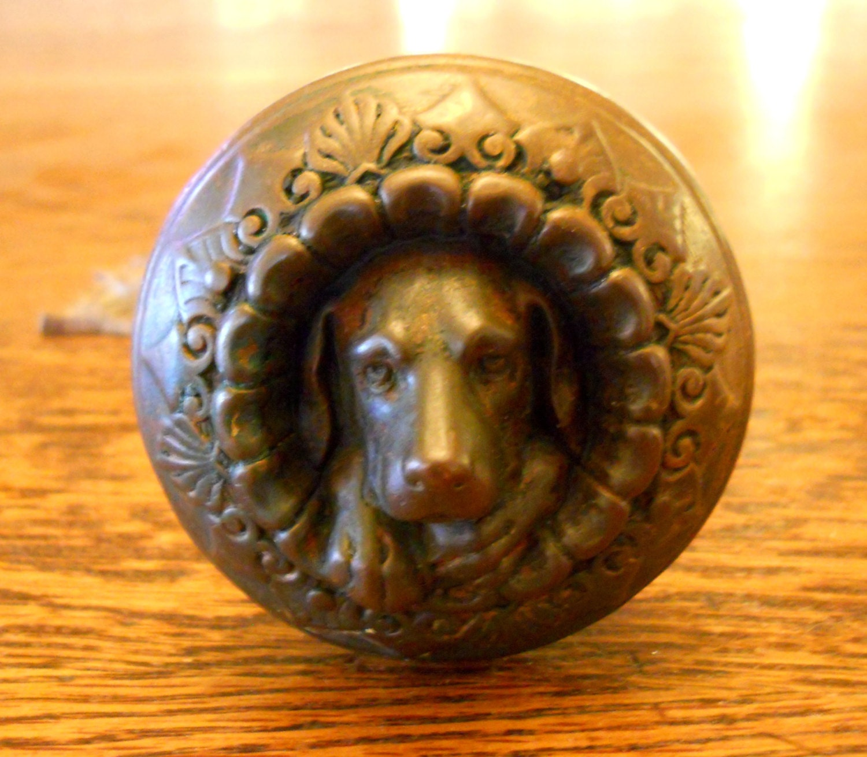 Antique 1869 Russell & Erwin Doorknob Figural Bronze Dog