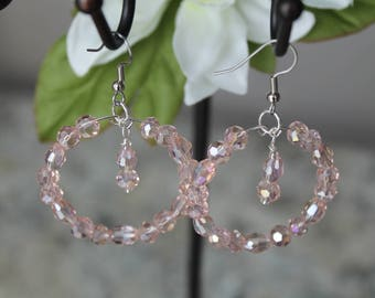 Beaded Large Hoop Earrings, Pale Pink Glass Beads, Fashion Earrings