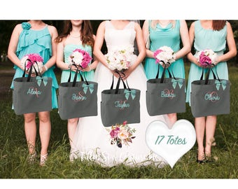 17  bridesmaid tote bags , bridesmaid gifts , tote bag , beach bag , bachelorette party gift ,wedding bag , maid of honor