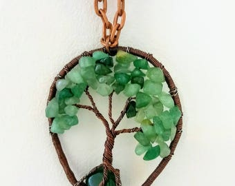 Nephrite jade necklace, Wire Tree of Life, Bonsai Pendant, stone wire jewelry, Twisted gemstone