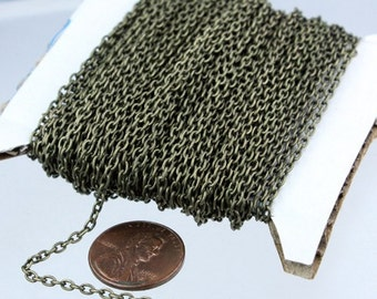 Antique Brass Chain, 50 ft spool of Antique Brass Round cable chain - 3x2.2mm - unsoldered link.Bulk Necklace chain