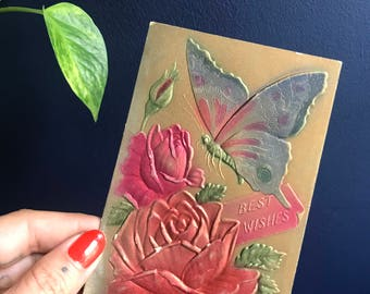 """Antique """"Best Wishes"""" Post Card With Embossed Butterfy And Roses"""