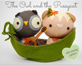 The Owl and the Pussycat Play Set - Easy PDF Sewing Pattern with Step-By-Step Photos
