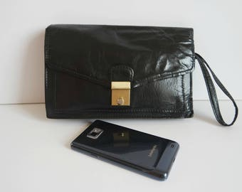 Vintage Men's Wristlet, Black Leather Wrist Bag, Men's Purse Bag, 1980s