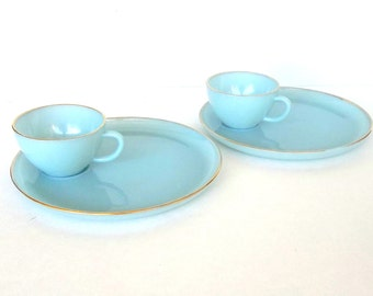 Fire King Turquoise Blue Hostess Delight Snack Set 22k Gold Trimmed 4 Piece Party Ware Set