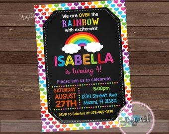Rainbow Party Invitation, Rainbow Birthday Party Invitation, Over the Rainbow Birthday Party Invitation, Rainbow Invitation, Digital File