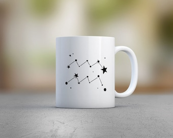 Aquarius Constellation- Best Friend Gift - February Birthday - Aquarius Gift - Mug Gift for Sister- Aquarius Coffee Cup- Astrology Gift Idea