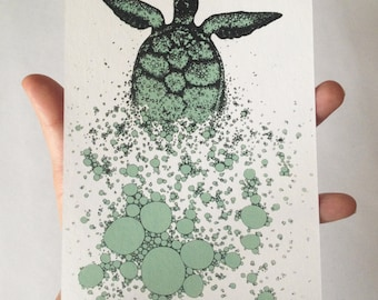 Turtle // Animal illustration Screen Print // Silk screen // Postcard // A6 // hand printed