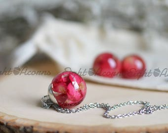 Rose petal necklace real flower jewelry mothers day gift flower necklace romantic jewelry Rose jewelry rose petals Pressed flower Mom gift