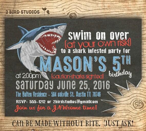 Shark birthday invitations shark invitations pool party or filmwisefo