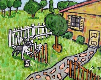 Boston Terrier Painting a Fence Dog Art Print  JSCHMETZ abstract folk art pop art MODERN