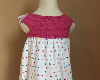 Little Miss Dress - Knit Bodice - Pink - Hearts - Size 3 Months