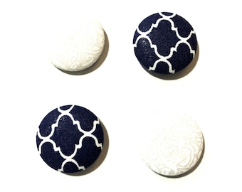 Blue and White Fabric Covered Button Magnets Bulletin Board Memo Board Magnet Board Fabric Memo Board Refrigerator Magnets Magnet Memo Board