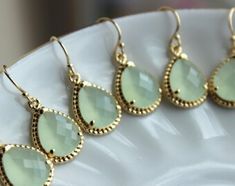 10% OFF SET OF 4 Wedding Jewelry Soft Mint Bridesmaid Earrings Wedding Jewelry - Seafoam Green Earrings Gold Mint Sea Foam Teardrop Jewelry