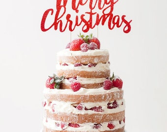 Merry Christmas Cake Topper, Winter Cake Topper, Christmas Holiday Party Decorations, Christmas Wedding Decoration, Christmas Cake Topper