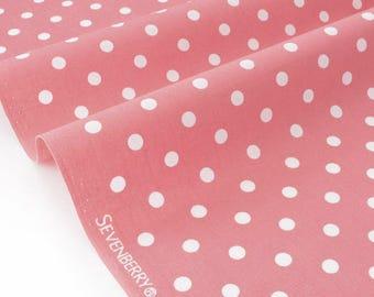Japanese SEVENBERRY Poplin cotton ecru dots pink x50cm