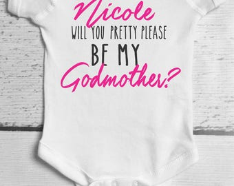 Baptism - Will you be my Godmother - /Baby Bodysuit / Baptism shirt