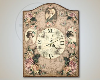 The vintage style wall clock with ladies and flowers, retro style, home decoration