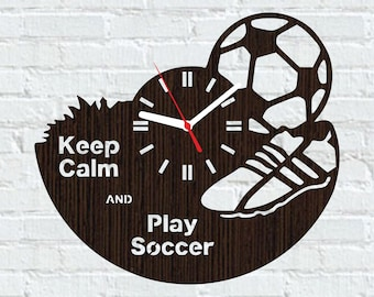 Wooden clock soccer gifts/Gifts for soccer player/Gifts for soccer coach/Soccer ball gifts/Sports home decorations/Sports soccer gifts