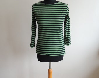 FREE SHIPPING - Vintage MARIMEKKO green and black striped cotton top with 3/4 sleeves, made in Finland