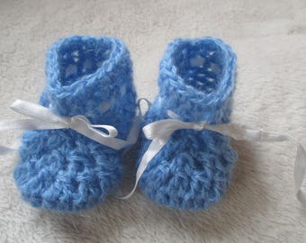 Booties newborn to 3 months baby blue