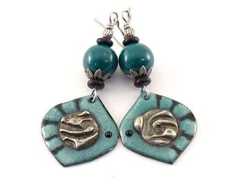 Handmade Turquoise and Black Stripe Earrings, Enameled Earrings, Silver Earrings, Artisan Earrings, Boho Earrings, OOAK Earrings, AE006