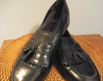 Vintage Nunn Bush Dress Flex ~ Black Tassel Leather Loafers Men's Size 10 1/2