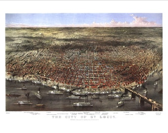 """St. Louis Missouri in 1878 Panoramic Bird's Eye View Map by Currier & Ives 22x16"""" Reproduction"""