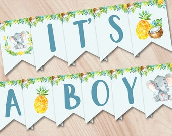 Baby Shower Banner It's a BOY, Printable Baby Shower Banner, Elephant Baby Shower Banner, Jungle Baby Shower Decoration, safari Baby Shower