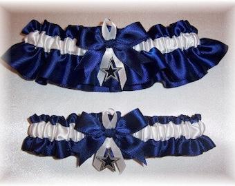 Dallas Cowboys Wedding Garter Set with charms  Handmade  Keepsake and Toss  Satin NW