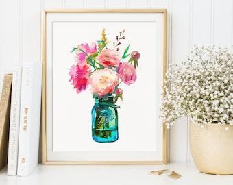 Mason Jar Print, Summer Flowers, Watercolor Painting, Glass Jar With Flowers, Still Life Print, Watercolor Still Life, Mason Jar Decor