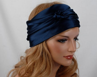 Silk Scarf, Sleep or Bandana Scarf Sizes, Navy Mulberry Silk Charmeuse, Hair Wrap, Scarves for Hair Care and Fashion, Headscarf