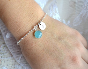 Sea foam blue bracelet Personalized wedding gift Bridesmaids jewelry Initialized bracelet Light Blue Bridesmaids bracelet, Bridesmaids gifts