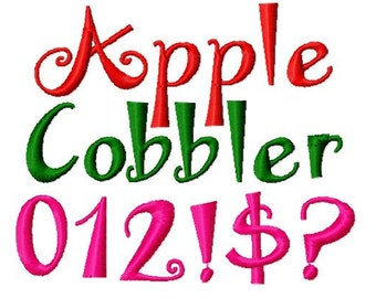 Apple Cobbler Machine Embroidery Font, Instant Download, BX format, 6 sizes