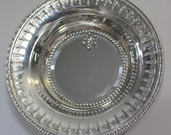 Fancy  Edged Silver Plated Bowl Embellished  Mirrored Tray/ Wall Decor