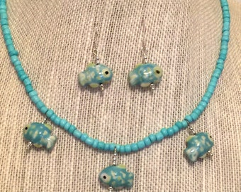 Fish Necklace Set Beach Aqua Seed Bead Sterling Silver Earrings CL1634