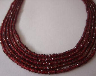 1 String of AAA Quality Mozambique Garnet Micro Faceted 2.5 to 3 mm