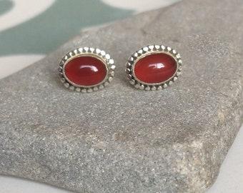 Carnelian silver studs, silver stud earrings, Sunstone studs, Carnelian studs, tiny silver earrings, Boho, natural stones, small studs