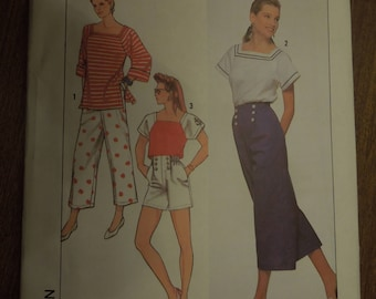 Simplicity 9709, sizes petite to XL, pants, shorts and knit top, UNCUT sewing pattern, craft supplies