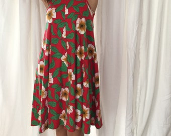 80s red hibiscus swing dress || size M-L