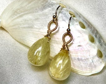 Golden Rutilated Quartz Smooth Drop Earrings
