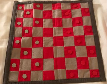 Handmade Checkerboard with bag- red and grey