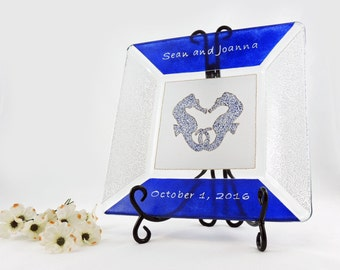 Sea horses wedding plate - Hand painted custom personalized wedding plate in navy and white - Sea Glass collection